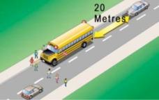 Rester 20 mètres derrière l'autobus